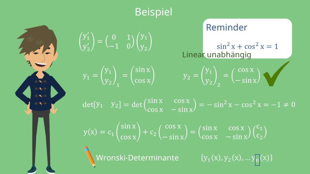 Beispiel Fundamentalsystem und Wronski-Determinante