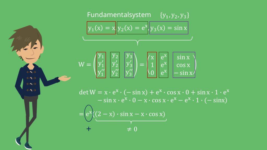 Beispiel Fundalmentalsystem und Wronski-Determinante
