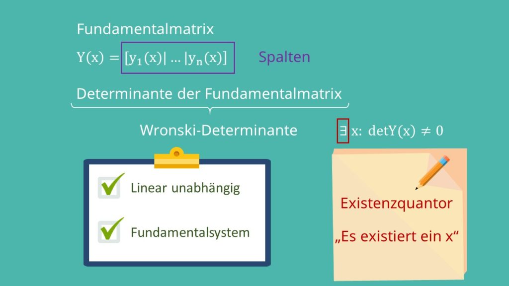 Definition Fundamentalsystem, Fundamentalmatrix und Wronski-Determinante
